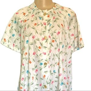 Vintage 1960's-70's Floral Pastel Retro Housedress Collared Buttoned